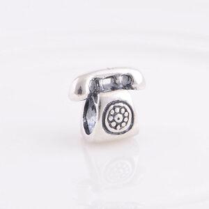 Telephone-Phone-Mobile-S925-Sterling-Silver-Charm-Bead-Fits-European-Bracelet
