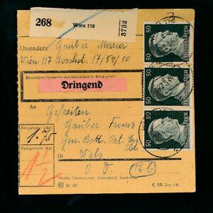 Paket-Karte mit Aufkleber dringend 1944 aus Wien 118 (H48)