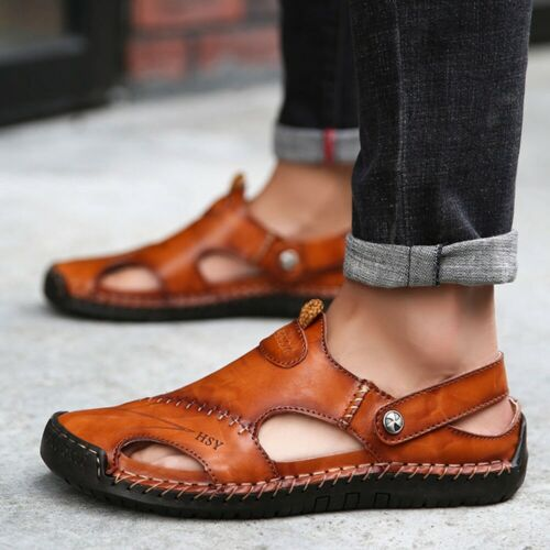 Black Men/'s Leather Sports Fisherman Sandals Holiday Shoes Beach Summer Slippers
