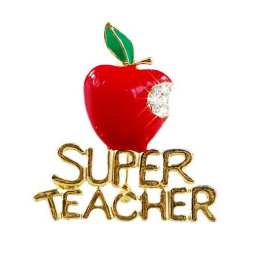 Red Super Teacher Xmas Gift Unisex With Crystal Brooch Pin Show Your Love NSER