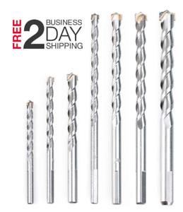 "Masonry Drill Bit Set 7pcs Carbon Steel Carbide Tip Drills Through  3//16/""-1//2/"""