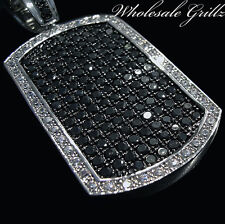 NEW $199 14K WHITE GOLD GP ICED OUT SIMULATE BLACK DIAMOND HIPHOP DOGTAG PENDANT