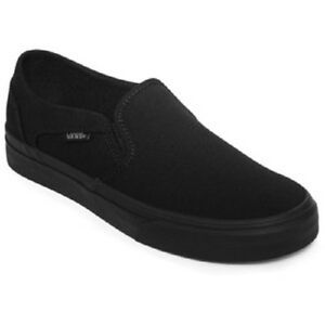 Boy's Youth VANS ASHER SOLID BLACK Slip On Canvas Loafers ...