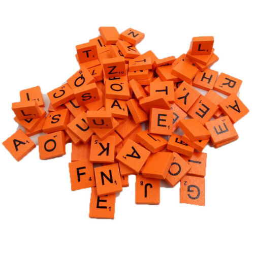 100 Pack WOODEN SCRABBLE TILES LETTERS NUMBER FOR CRAFTS WOOD ALPHABETS On Sale