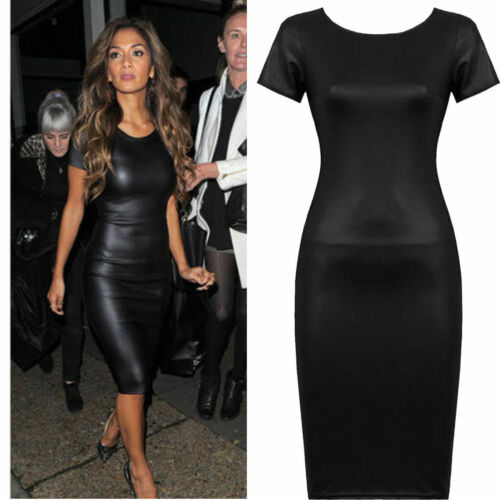Grande Taille Femme PVC Aspect Cuir Moulante Wet look luisant manches Midi robe