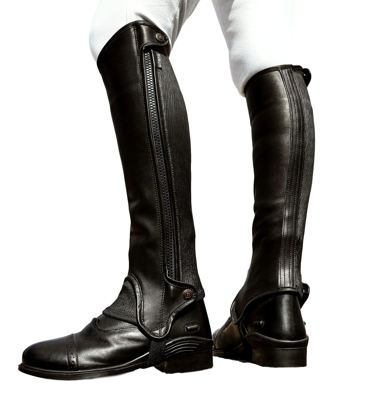 Dublin Adults Evolution Side Zip Leather Half Chaps with Elasticised Calf