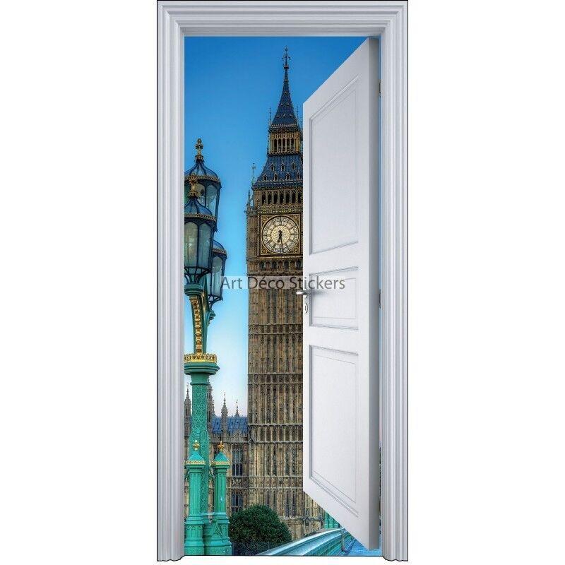 Adhesivo Puerta Trompa Trampantojo Londres Big Ben 90x200cm 9106