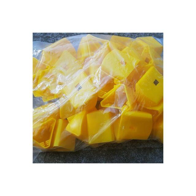 40 x Yellow Star Picket / Steel Y Fence Post Safety Cap - Triangular fits snug!