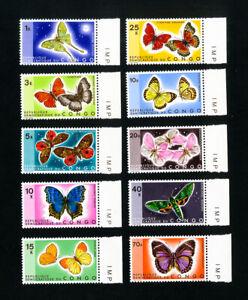 Congo-Stamps-713-22-XF-OG-NH-butterflies-set-of-10-Scott-Value-68-25