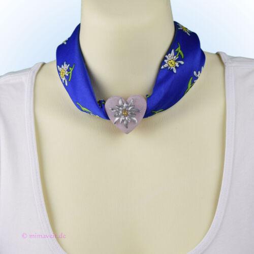 Trachtentuch Halstuch Tuch blau Edelweiß mit Herz Anhänger Schalhalter