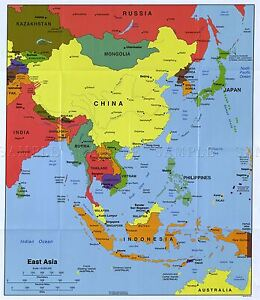 MAP-POLITICAL-CIA-2004-EAST-ASIA-HISTORIC-LARGE-REPLICA-POSTER-PRINT-PAM1424