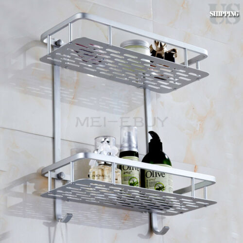 2 Tiers Bathroom Wall Shelf Storage Rack Aluminum Shower Caddy Organizer Holder