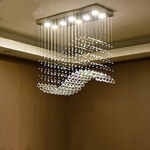 Moooni Wave Crystal Chandelier Lighting for Dining Room Raindrop Ceiling Lights