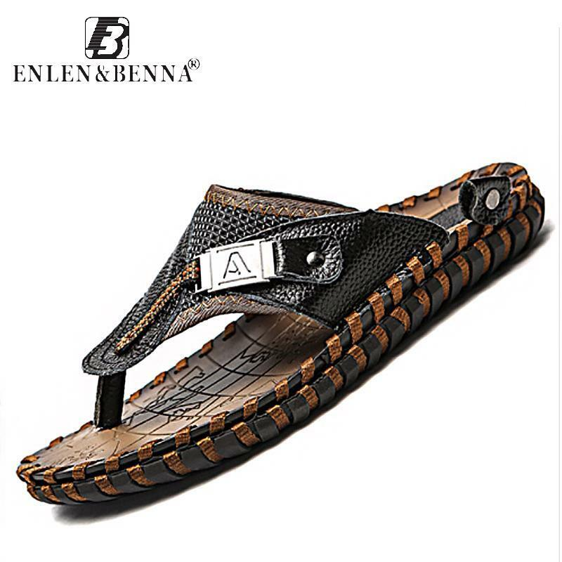Men Luxury Flip Flops Genuine Leather Slippers Summer Beach shoes Men Fashion Ou