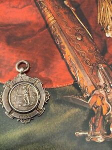 Antique-Sterling-Silver-925-Albert-Chains-Watch-Fob-Medal-Cricket-SAF-1946