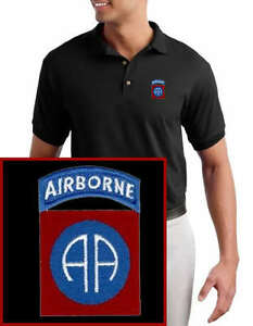 82nd Airborne EMBROIDERED Military Black Polo Shirt NEW