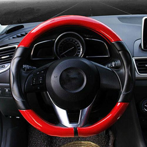 66E9 Universal 1 PC 38cm Car Cover Steering Wheel Covers Carbon Fiber PU