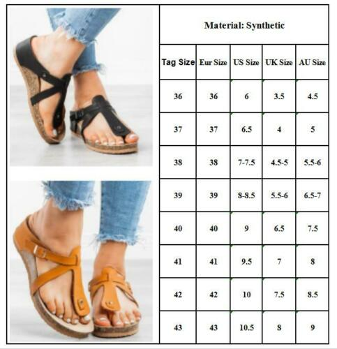 Women/'s Summer Flat Low Wedge Platform Heels Flip Flops Beach Sandals Shoes Size