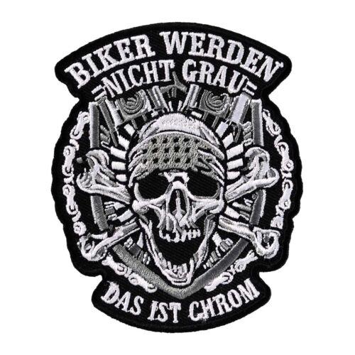 Bügel Aufnäher Biker werden nicht grau CHROM motorrad custom free club MC west