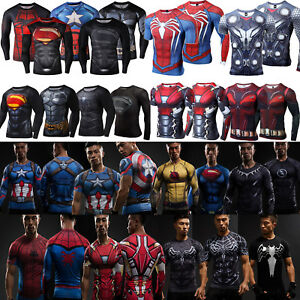 Men-039-s-Marvel-Superhero-Compression-T-Shirt-Base-Layer-Sport-Muscle-Tops-Tee