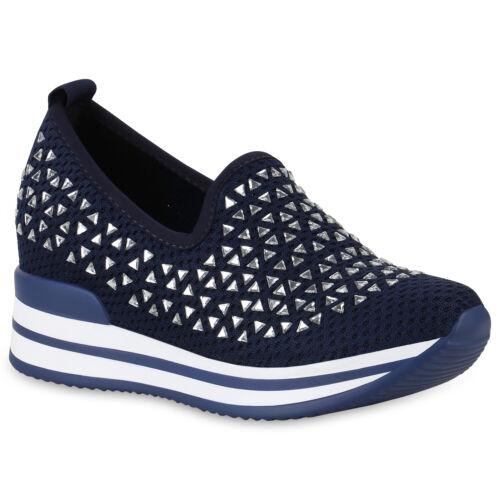 Damen Sneaker Wedges Strass Keilabsatz Plateau Turnschuhe 826089 Schuhe