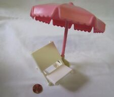 New! FISHER PRICE Loving Family Dollhouse BEACH CHAIR w/ UMBRELLA for Lake Patio