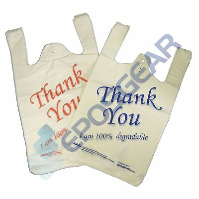 100 White Red Large Thank You 100/% Degradable Eco Plastic Vest Carrier Bags