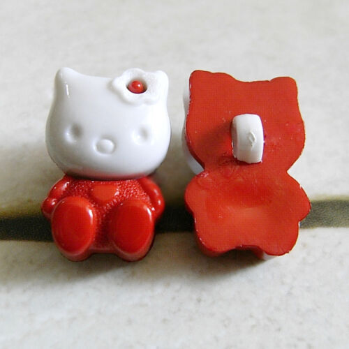 15 Kitty Cat Pet Novelty Kid DIY Bigs Craft Sewing Buttons Red K840