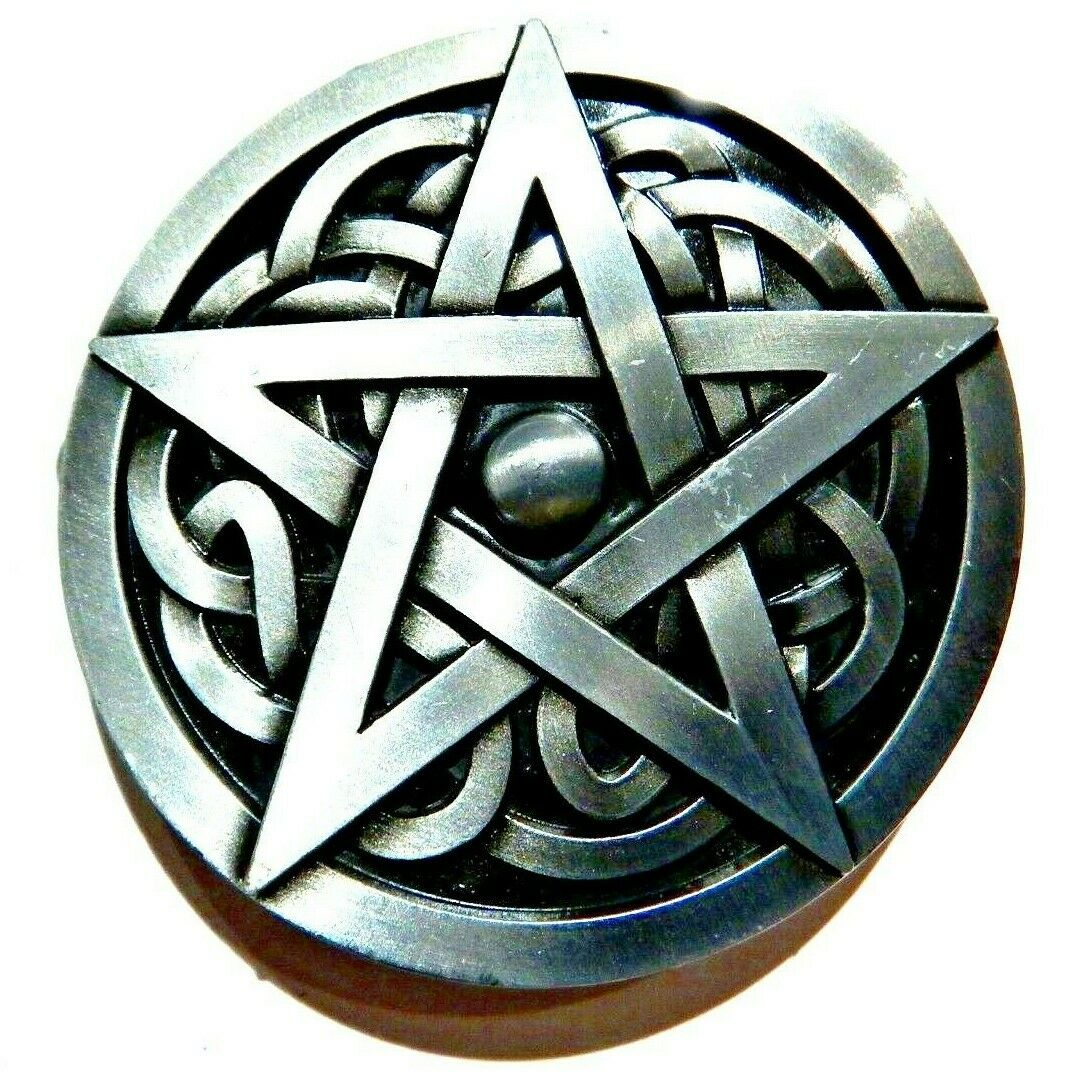 Zinn Fünfzack & Knotenmuster Gürtelschnalle Irisch Norse Wicca Pentacle Gothic