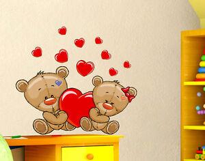 Dettagli su Adesivi Murali Bambini Cameretta Orsetto e cuoricini Orso Wall  stickers Adesivo
