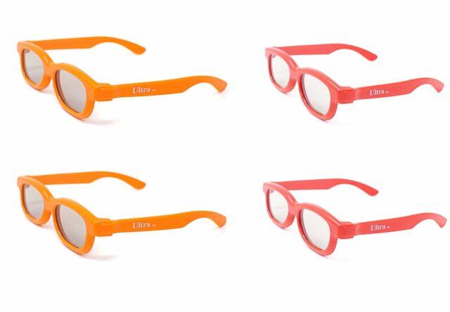 4 Pairs of Children's Passive 3D Glasses 2 Red 2 Orange LG Toshiba Cinemas LG