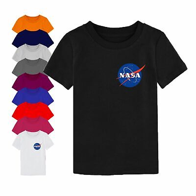 NASA T Shirt Centre Logo Space Astronaut Geek Nerd Star Youth Boy Girl Kids Top
