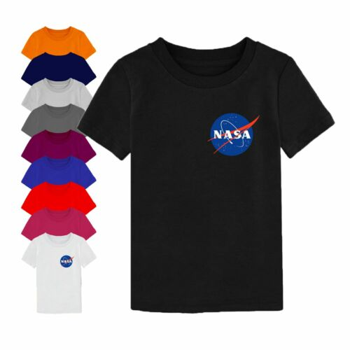 NASA t shirt logo sur le côté espace astronaute Geek Nerd Star Youth garçon fille enfants Top