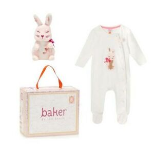 Ted baker baby girls romper sleepsuit soft toy bunny gift set 12 18 months ebay