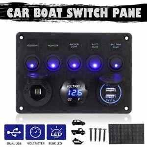 5 Gang LED Schaltpanel Schalttafel Kippschalter 12V//24V Auto Boot Schalter DE