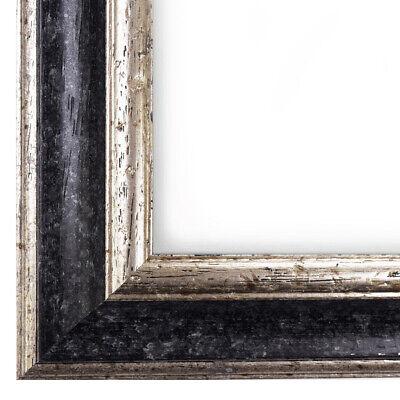 WR-53 Echtholz Bilderrahmen Alt Schwarz Silber Vintage Retro Antik Holz Rahmen