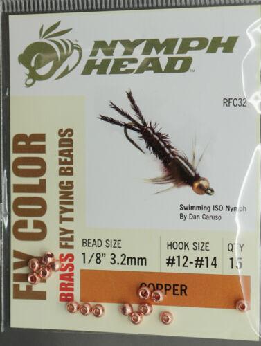 FLY COLOR Messing Beads 15 pc 3,2 mm COPPER Kopfperlen 3,2 mm