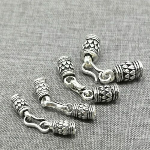 925 Sterling Silver Lotus Flower Cord End Cap for Yoga Bracelet Leather Cord