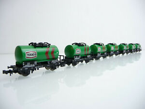Minitrix-N-51-3546-7-teiliger-Kesselwagen-Zug-TEXACO-2-achsig-gruen
