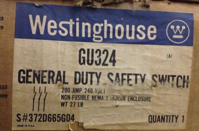 GU-324 WESTINGHOUSE SWITCH 240V-200AMP FOR 50 HP MOTOR NEW OLD STOCK