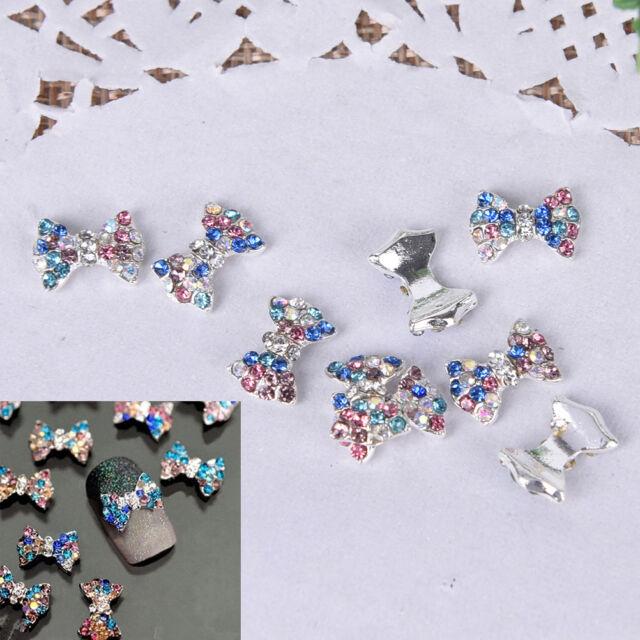 5Pcs 3D Alloy Nail Art Decoration Bow Knot Glitter Rhinestones ManicureJewelryS*