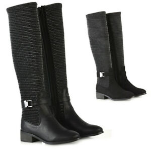 Womens-Flat-Low-Heel-Stretch-Knee-High-Boots-Ladies-Grip-Sole-Winter-Shoes-Size