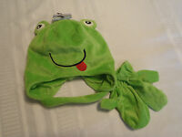 Polar Wear Green Frog Face Winter Warm Hat Mittens Set Easy Close Chin Strap