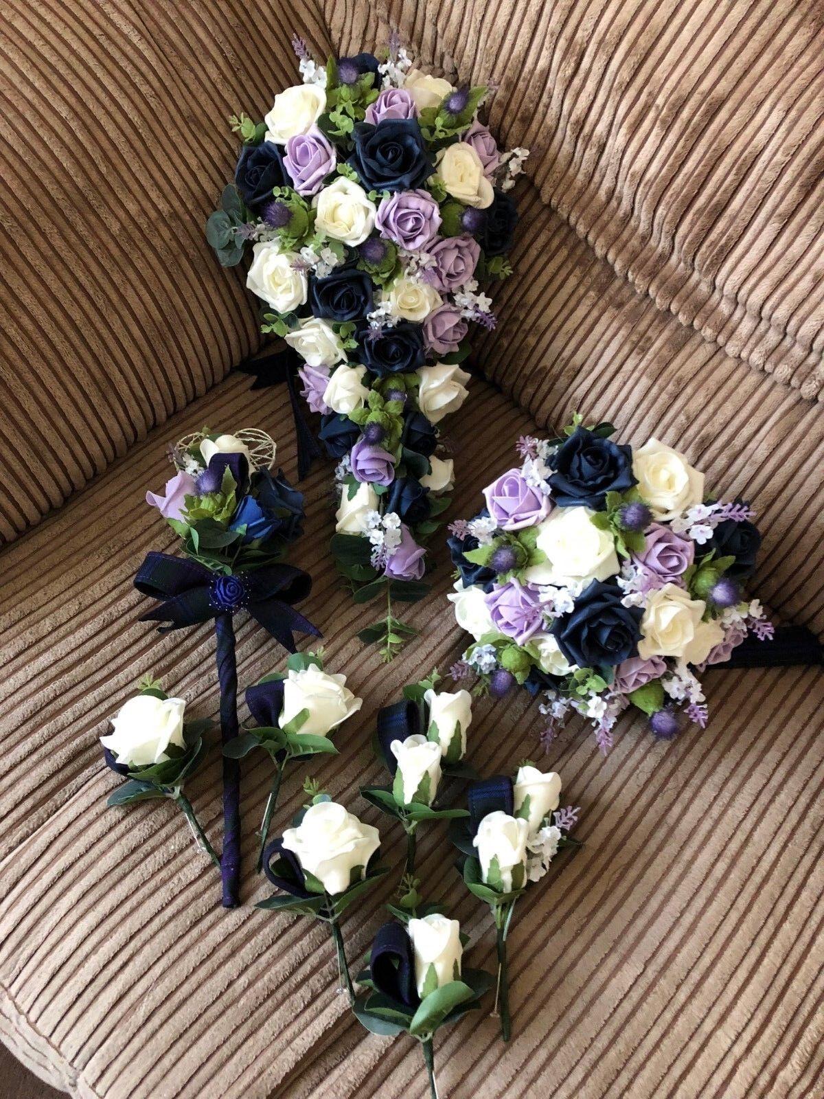 Scottish mariage fleurs Paquet Thistles, Marine, Ivoire & violetS ROSES