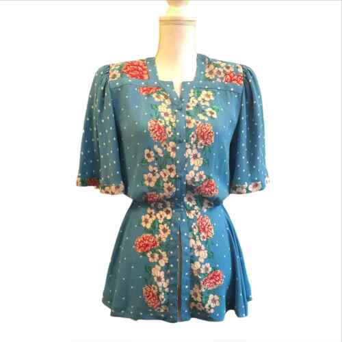 Diane Freis Vintage Floral Top Medium Large Blue F