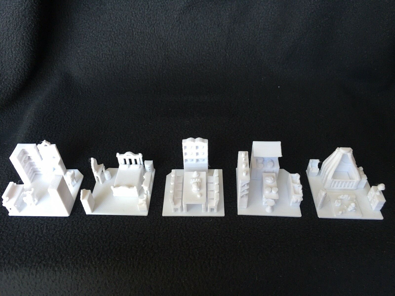 HO Scale House Interior Set (5 White Rooms) - Fits gold Rush Bay Victorians