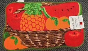 "BASKET of FRUITS PRINTED NYLON KITCHEN RUG by ST rectangle 18/""x 30/"""