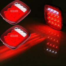 2xRed/white Truck Trailer LED Stop Turn Tail Light For Jeep Wrangler JK TJ CJ YJ