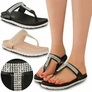 Womens-Ladies-Summer-Jelly-Sandals-Diamante-Wedge-Cushioned-Comfort-Shoes-Size