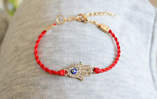 Gold Plated Hamsa Red Bracelet Evil Eye Charm Kabbalah Hand Of Fatima